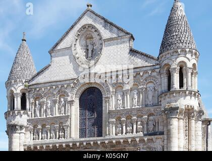 West front of Church of Notre Dame le Grande, Poitiers, France, built second half of the11th Century, in High Romanesque - Stock Photo