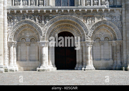 Lower part of West front of Church of Notre Dame le Grande, Poitiers, France, built second half of 11th Century, - Stock Photo