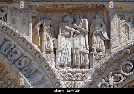 Detail of frieze on West front of Church of Notre Dame le Grande, Poitiers, France, built second half of 11th Century, - Stock Photo
