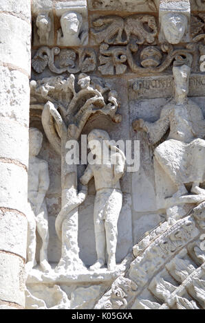 Detail of frieze, West front of Church of Notre Dame le Grande, Poitiers, France, built second half of 11th Century, - Stock Photo