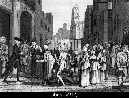 Laurence Sterne (1713 - 1768) writer, besieged by beggars at Montreuil while travelling on his 'Sentimental Journey'      Date: 1