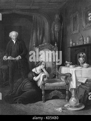 Sir Walter Scott (1771 - 1832) Scottish novelist's empty  chair at Abbotsford, after his death      Date: - Stock Photo