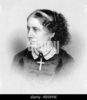 Harriet Beecher Stowe (1811 - 1896) - American novelist and anti-slavery campaigner        Date: - Stock Photo
