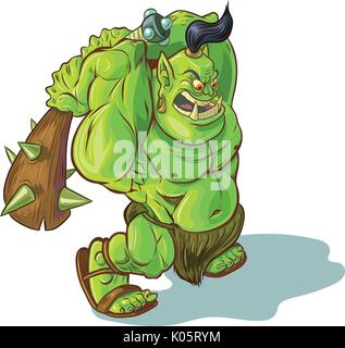 Vector cartoon clip art illustration of a tough mean muscular green orc or ogre or troll mascot with a spiked club - Stock Photo