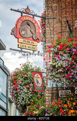DUBLIN, IRELAND - AUGUST 12: Close of the sign of the famous Temple Bar, in Dublin, Ireland - Stock Photo
