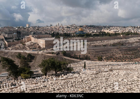 Jewish cemetery on the Mount of Olives in Jerusalem, Israel. This burial site holds about 150,000 graves and has - Stock Photo