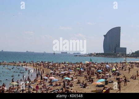 Barcelona, Spain. 21st Aug, 2017. Crowded Barceloneta beach a few days after the terroristic attack on Barcelona Ramblas Credit: Dino Geromella/Alamy Live News