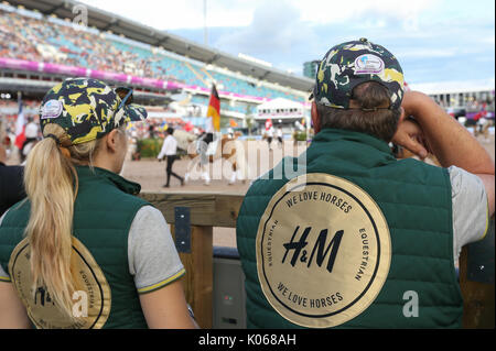 Gothenburg, Sweden. 21st Aug, 2017. Assistants looking at groups of riders in Ullevi Stadion at the official opening - Stock Photo