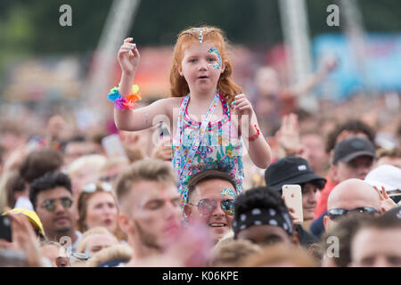 Music fans at Hylands Park,Chelmsford,Essex on Sunday,August 20th at this years V Festival. - Stock Photo
