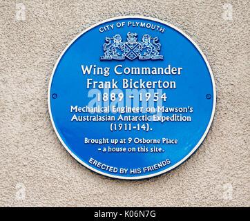 Heritage blue plaque commemorating Wing Commander Frank Bickerton  in Lockyer Street, Plymouth, Devon, England, - Stock Photo