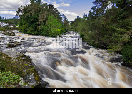 Falls of Dochart, whitewater rapid in the village Killin, Loch Lomond & The Trossachs National Park, Stirling, Scotland, - Stock Photo