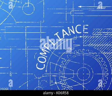 Compliance word with gear wheels on blueprint machine background illustration - Stock Photo