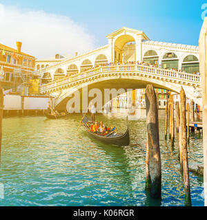 View of Rialto Bridge at sunset in Venice, Italy - Stock Photo