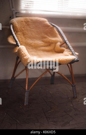 Photo With Tone · Old Wicker Chair With Sheepskin   Stock Photo
