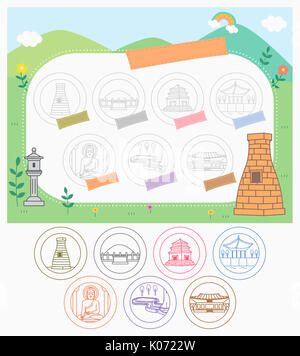 Stamps related to Korean landmarks - Stock Photo