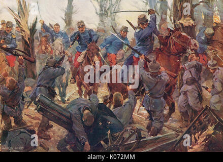 French light cavalry charge at Lassigny, 1914, WW1 - Stock Photo