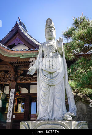 Sakata, Japan - May 19, 2017. Kuan Yin (Guanyin) Buddha Statue at a temple in Sakata, Japan. Sakata City flourished - Stock Photo