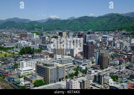 Yamagata, Japan - May 19, 2017. Aerial view of the central of city in Yamagata, Japan. Yamagata Prefecture has, - Stock Photo