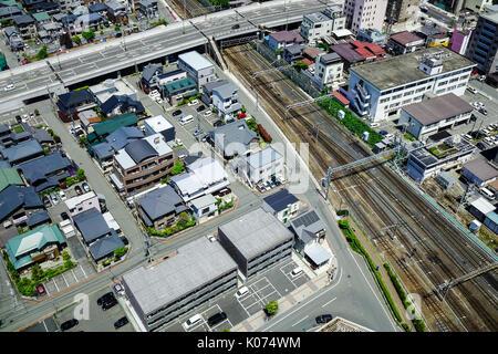 Yamagata, Japan - May 19, 2017. Modern houses with railway tracks at Yamagata City in Tohoku, Japan. Yamagata is - Stock Photo