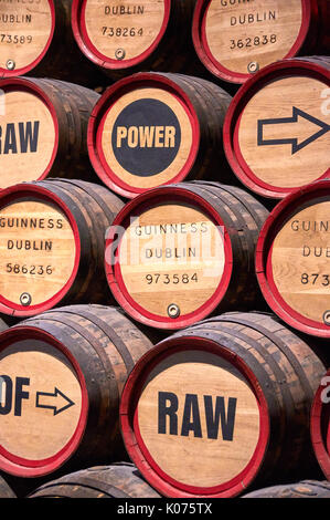 DUBLIN, IRELAND - AUGUST 3, 2017 : Guinness barrels in Storehouse. Guinness Storehouse is a tourist attraction at - Stock Photo