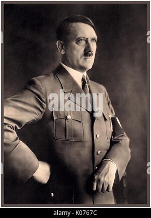 PORTRAIT ADOLF HITLER in military uniform with swastika armband  portrait of Fuhrer Adolf Hitler by Heinrich Hoffman - Stock Photo