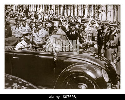 ADOLF HITLER with DR. PORSCHE at the launch of 'the people's car' KDF VW Volkswagen Beetle prototype convertible - Stock Photo