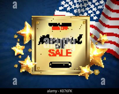 Memorial day sale banner with flag and golden stars. Vector - Stock Photo