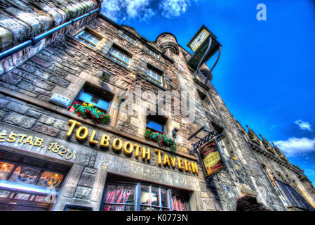 City of Edinburgh, Scotland. Low angled view of Canongate Tolbooth façade, on the north side of Edinburgh's Royal - Stock Photo