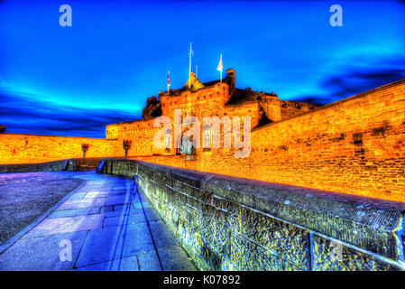 City of Edinburgh, Scotland. Picturesque night view of the main entrance and esplanade of Edinburgh Castle. - Stock Photo