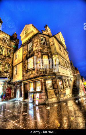 City of Edinburgh, Scotland. Picturesque night view of John Knox's House on the Royal Mile's High Street. - Stock Photo