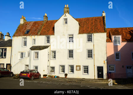 Renovated buildings on waterfront of Scottish coastal town of Pittenween in East Neuk of Fife, Scotland, UK - Stock Photo