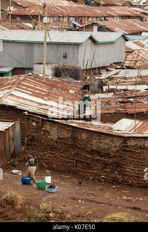 Kibera, one of Africa's largest slums, near Nairobi, Kenya - Stock Photo