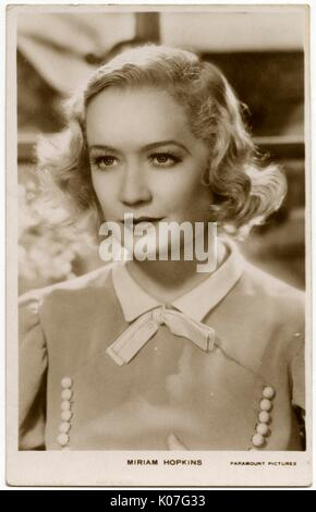 Miriam Hopkins (1902 - 1972), American film actress,  formerly a dancer       Date: - Stock Photo