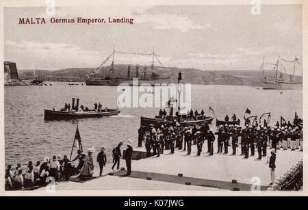 German Emperor Kaiser Wilhelm II landing at Valletta, Malta - November 1898.     Date: circa 1898 - Stock Photo
