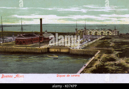 Dry dock with warship in the port at Buenos Aires, Argentina, South America.      Date: circa 1905 - Stock Photo