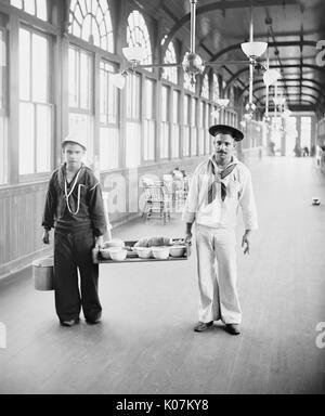 Mess boys carrying food at Brooklyn Navy Yard Hospital, New York City, USA.     Date: 1901 - Stock Photo