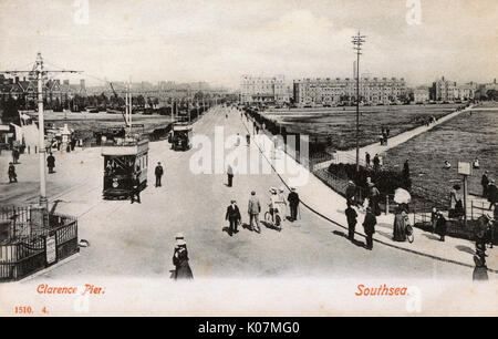 Southsea, Portsmouth, Hampshire - View looking inland from Clarence Pier with trams     Date: circa 1906 - Stock Photo