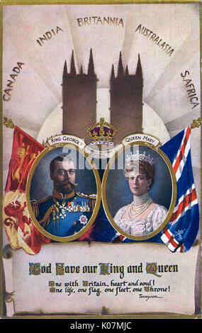 God Save Our King and Queen' - Coronation Souvenir Postcard - King George V (1865-1936) and Queen Mary (1867-1953) - 22nd June 1911. Succeeded to the Throne on May 6th 1910. Card accompanied by a quote by Alfred, Lord Tennyson: ';One with Britain, heart and soul! One life, one flag, one fleet, one throne!';     Date: 1911 Stock Photo