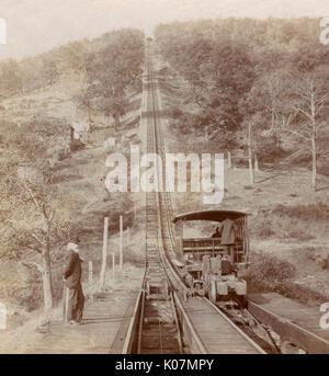 Switchback railway, near Mauch Chunk, Pennsylvania, USA. A gravity narrow gauge railroad at the Summit Hill coalmines, - Stock Photo