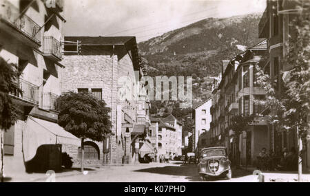 Main street of Les Escaldes (named after local hot springs), parish of Escaldes-Engordany, Principality of Andorra, - Stock Photo