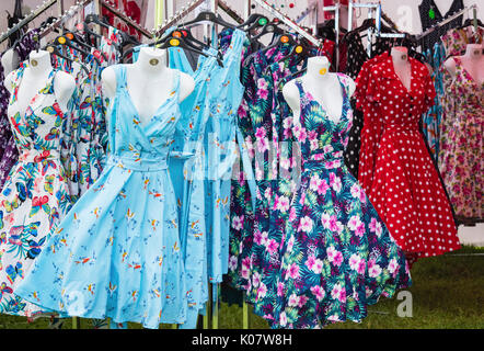 vintage style dresses at a vintage retro festival. uk stock photo, Design ideen