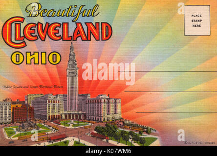 Cleveland, Ohio, USA - Front cover of Souvenir fold-out picture folder - Public Square and Union Terminal Tower - Stock Photo