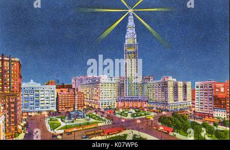 Cleveland, Ohio, USA - Public Square and Union Terminal Tower.     Date: circa 1934 - Stock Photo