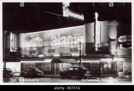 Tom Breneman's Restaurant and Night Club, Vine Street, Hollywood, Los Angeles, California, USA.      Date: circa - Stock Photo