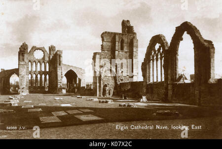 Elgin Cathedral Nave, looking East, Moray, Scotland.     Date: circa 1930s - Stock Photo