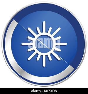 Sun silver metallic web and mobile phone vector icon in eps 10. - Stock Photo