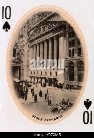 New York City - Playing card - Stock Exchange - 10 of Spades.     Date: 1900 - Stock Photo