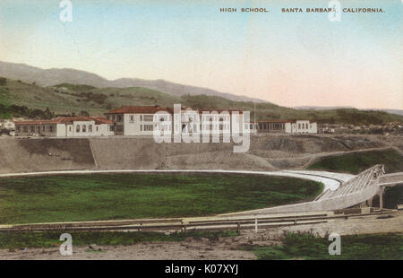 Peabody High School, Santa Barbara, California, USA, with the sports stadium in the foreground.      Date: late - Stock Photo