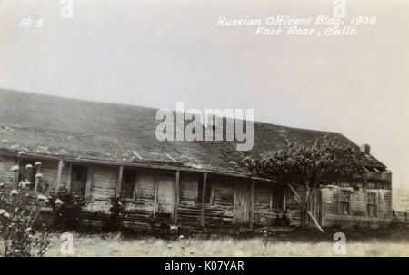 Russian officer's building at Fort Ross, Sonoma County, California, USA.      Date: 1900 - Stock Photo