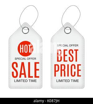 Vector Illustration of White Paper Sale Label - Stock Photo
